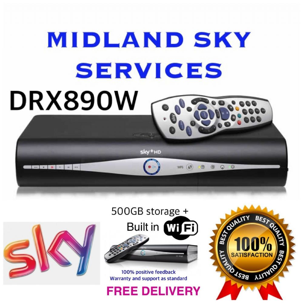 SKY PLUS + HD BOX 500gb AMSTRAD WIFI RECEIVER/RECORDER + REMOTE AND POWER CABLE